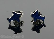 GENUINE REAL SOLID 925 STERLING SILVER BLUE BIRD BLUEBIRD GIRLS STUD EARRINGS