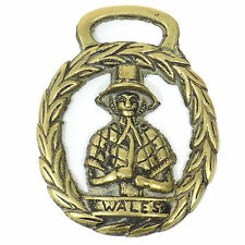 Vintage Horse BRIDLE CHARM Medallion Solid BRASS Decoration WALES WREATH