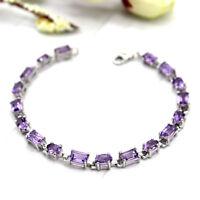 "Natural Amethyst Tennis Fine Bracelet 925 Sterling Silver Emerald Oval Shape 7"""