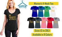 Queens Are Born In OCTOBER VNECK TSHIRT Lady Tee Shirt Birthday Shirt GOLD Logo