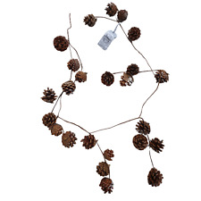 Natural Pine Cone with Silver Glitter Christmas Garland - 120cm