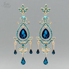 18K Gold GP Aqua Blue Crystal Rhinestone Chandelier Drop Dangle Earrings 05548