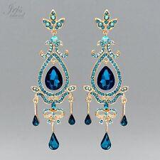 18K Gold GP Aqua Blue Crystal Rhinestone Chandelier Drop Dangle Earrings 05548