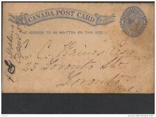 CANADA, Postcard 1882 1c  shield below 1s (D)