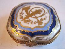 """Limoges Trinket Box - Hand Painted - Vincennes, France - 2 1/8"""" X 2 1/4"""" -Signed"""