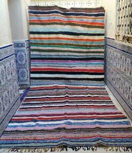 "Vintage Moroccan Handmade rug Boucherouite Berber kilim Rug colorful 13' x 5'9"""