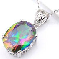 European Faceted Woman Rainbow Mystical Fire Topaz Gems Silver Necklace Pendants
