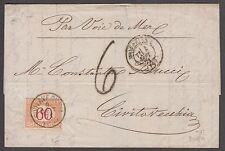 Lettera da Marsiglia via Mare a Civitavecchia tassata 60 cent. lotto 56V/P
