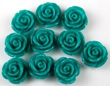 10pcs Teal Blue Flowers Resin Flatbacks Scrapbooking Cabochons Bow Jewelry