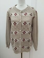 Bellisimo Ladies Size L 16 18 Beige Brown Cable Knit Cardigan Summer Fashion