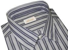 $595 NEW BRIONI BLUE-GRAY & WHITE STRIPE COTTON DRESS SHIRT III M EU 41 16
