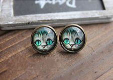 Fashion Design Alice Cat  transparent Stone Women's Retro Stud Earrings Jewelry