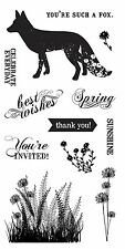 "Fiskars Clear Stamps 4"" x 8"" - What a Fox! - Invite, Thank You, Spring, Flowers"