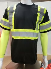 Black High Visibility Reflective, Black Safety Shirt (Small to 3Xl)