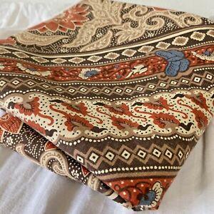 Ames Indonesian Batik Style Shower Curtain Orange Brown Tan Floral 72x72 Keyhole