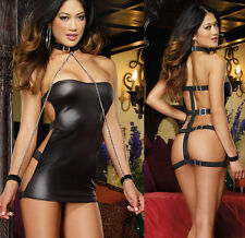 Stunning Backless Faux Leather Mini Dress with Cuffs Collar Chains and G-String