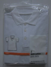 New Girls Boys Marks & Spencer White School Polo Shirts Age 4 Years x 2