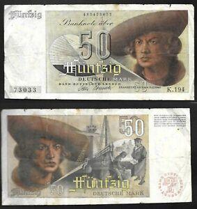 50 Deutsche Mark 9.12.1948 German Federal 🇩🇪Banknote SN:K.194 483473033 # 14
