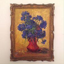FOREST Pierre (1881-1971) Bouquet de fleurs bleues  Fauve Huile signée vers 1920