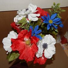 """Flowers 4th Of July Red White & Blue Decor Stems Picks Bushes 1ea 17""""x 10"""" 161G"""