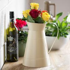 2 x 26cm Vintage Cream Metal Jugs Pitchers Flower Pots Vases Wedding Table Decor