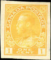 Mint NG Canada 1c 1924 VF IMPERFORATE Scott #136 King George V Admiral Stamp