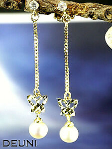 333 Gold Ohrstecker als Ohrhänger 32,0 mm Länge mit Zirkonia Steinen 1 Paar