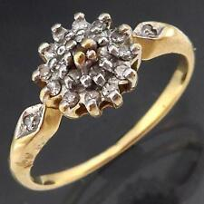 Sparkling Petite Solid 9k Yellow GOLD 21 DIAMOND CLUSTER RING Small Sz J1/2