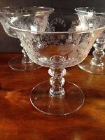 "Heisey Elegant Glass ORCHID Etch (5) Low Sherbet Goblets 4"" EUC!"