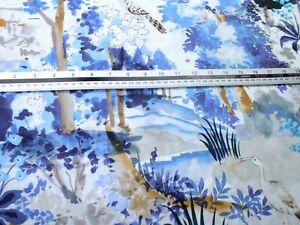 2 meter piece .100 % cotton poplin blue floral and birds