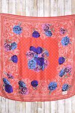 "Jacqueline Ferrar designer silk scarf, 30"" square, red & white w/ poppies"