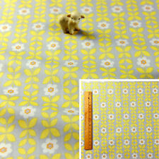 YELLOW GREY Fat Quarter/Meter Cotton Fabric FQ, Craft Quilt Sew, Retro Floral B
