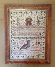Mary Clay 1805 Chinese Quail Sampler Cross Stitch CHART-203x274 Stitches-Merry W