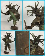 "13"" Brutalist African Tribal Masked Drummer Scrap Metal Welded Folk Art Statue"