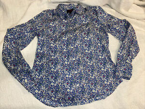 J. Crew Liberty of London Perfect Shirt June's Meadow Navy Floral Size 10