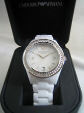 EMPORIO ARMANI CERAMICA WATCH WOMEN'S CERAMIC WHITE AR1426 CRYSTALS BNWT
