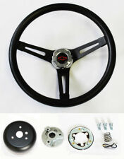 "Chevy C10 C20 C30 Blazer Black on Black Steering Wheel 13 1/2"" Rd/Blk Bowtie cap"