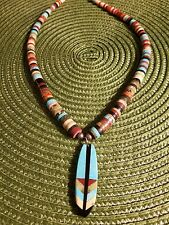 feather necklace southwest Coriz native American turquoise