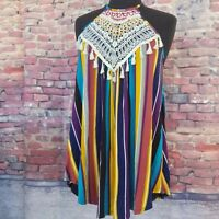 CY Fashion Casual Colorful Bohemian Tank/Top with Crochet details, Size Small