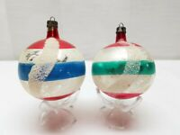 Vintage Poland Blown Glass Christmas Tree Ornaments Bauble Stripe Balls Mica Lot