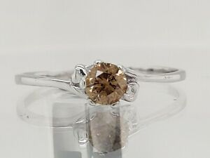 0.27Ct Sparky Eye-Clean Champagne Natural Diamond Ring Sterling Silver See Video