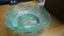 Vintage Green Depression Glass Square Glass Dish