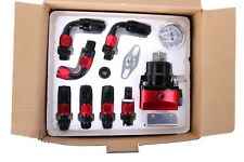 Universal Fuel Pressure Regulator+Gauge+AN6 Fuel Line Hose+Fittings Black + Red