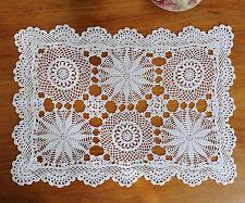 Fine Yarn Cotton Hand Crochet Lace Doily Placemat Topper Rectangle 30x42CM White