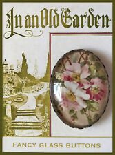 WILD PINK ROSES Glass Dome OVAL BUTTON Vintage CATHERINE KLEIN Floral Art CARD