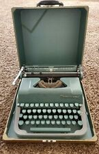 Vintage Underwood Quiet Tab Portable Typewriter Green Gray With Cary Box