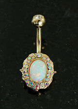 1 Pc 14K Gold Plated White Opal and AB Crystals Navel Belly Button Ring 14g