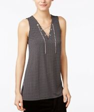 Michael Kors Lace Up Silver-Tone Chain Hardware Sleeveless Top SIZE L Black NWT