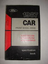 Ford 1987 Car 1 Front Wheel Drive Specification Book Escort Tempo Taurus Sable