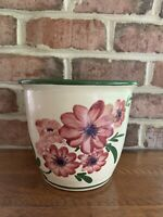 Large Vintage Handmade Hand Painted Clay Planter / Flower Pot Heavy Excellent